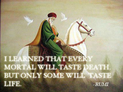 Quote by Rumi on every mortal tasting death but not everyone tasting life